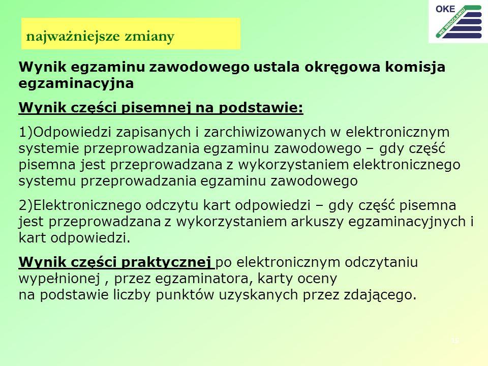 15 Wynik egzaminu zawodowego ustala okręgowa komisja egzaminacyjna Wynik części pisemnej na podstawie: 1)Odpowiedzi zapisanych i zarchiwizowanych w el