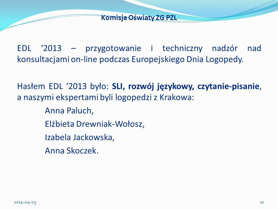 EDL 2013 – przygotowanie i techniczny nadzór nad konsultacjami on-line podczas Europejskiego Dnia Logopedy. Hasłem EDL 2013 było: SLI, rozwój językowy