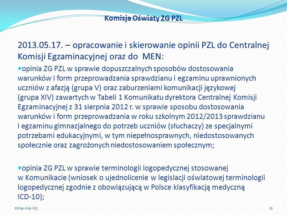 Komisja Oświaty ZG PZL 2013.05.17. – opracowanie i skierowanie opinii PZL do Centralnej Komisji Egzaminacyjnej oraz do MEN: opinia ZG PZL w sprawie do