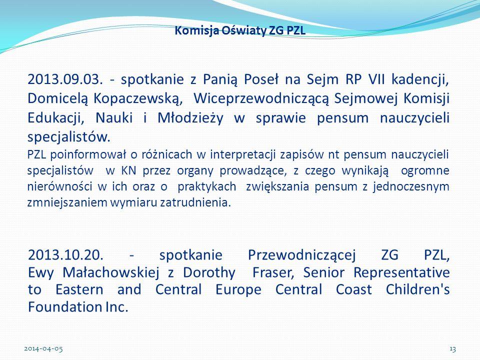 Komisja Oświaty ZG PZL 2013.10.20. - spotkanie Przewodniczącej ZG PZL, Ewy Małachowskiej z Dorothy Fraser, Senior Representative to Eastern and Centra