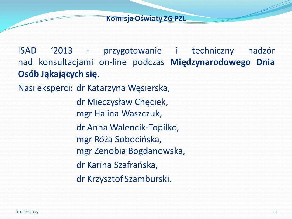 ISAD 2013 - przygotowanie i techniczny nadzór nad konsultacjami on-line podczas Międzynarodowego Dnia Osób Jąkających się. Nasi eksperci: dr Katarzyna