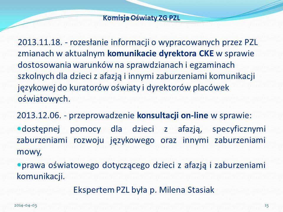 2013.12.06. - przeprowadzenie konsultacji on-line w sprawie: dostępnej pomocy dla dzieci z afazją, specyficznymi zaburzeniami rozwoju językowego oraz
