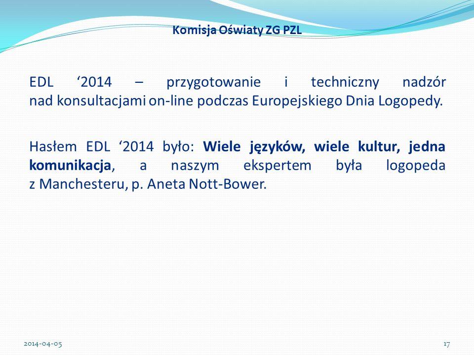 Komisja Oświaty ZG PZL EDL 2014 – przygotowanie i techniczny nadzór nad konsultacjami on-line podczas Europejskiego Dnia Logopedy. Hasłem EDL 2014 był