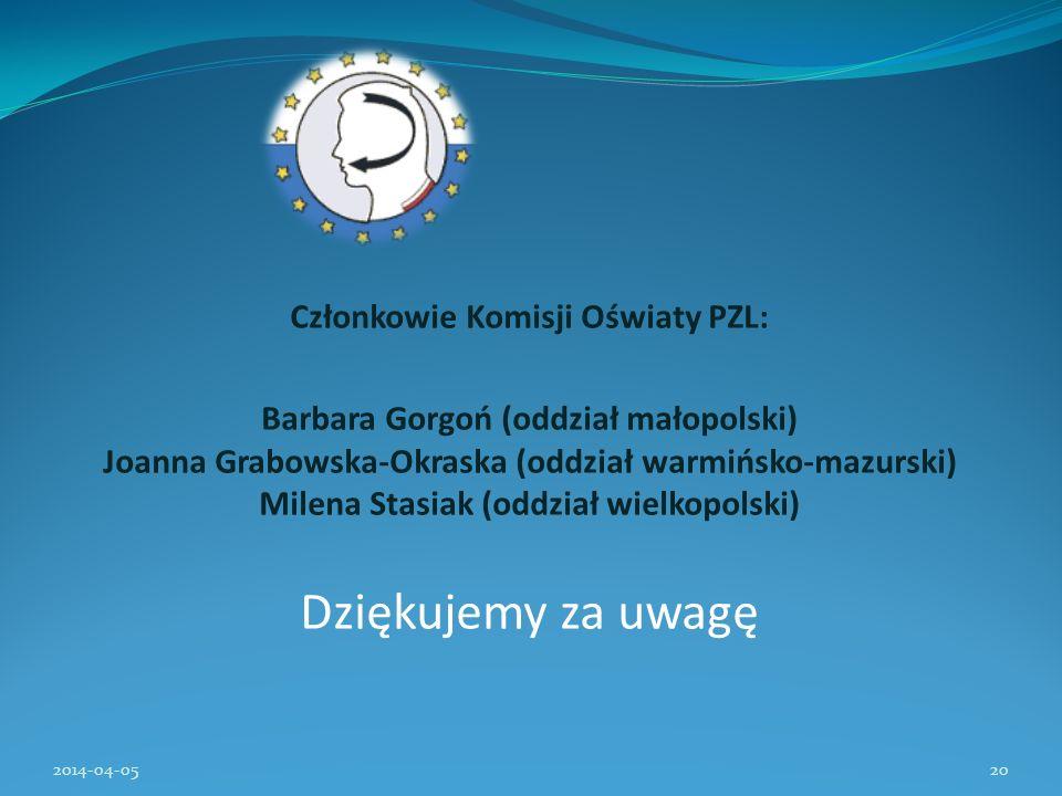 Członkowie Komisji Oświaty PZL: Barbara Gorgoń (oddział małopolski) Joanna Grabowska-Okraska (oddział warmińsko-mazurski) Milena Stasiak (oddział wiel