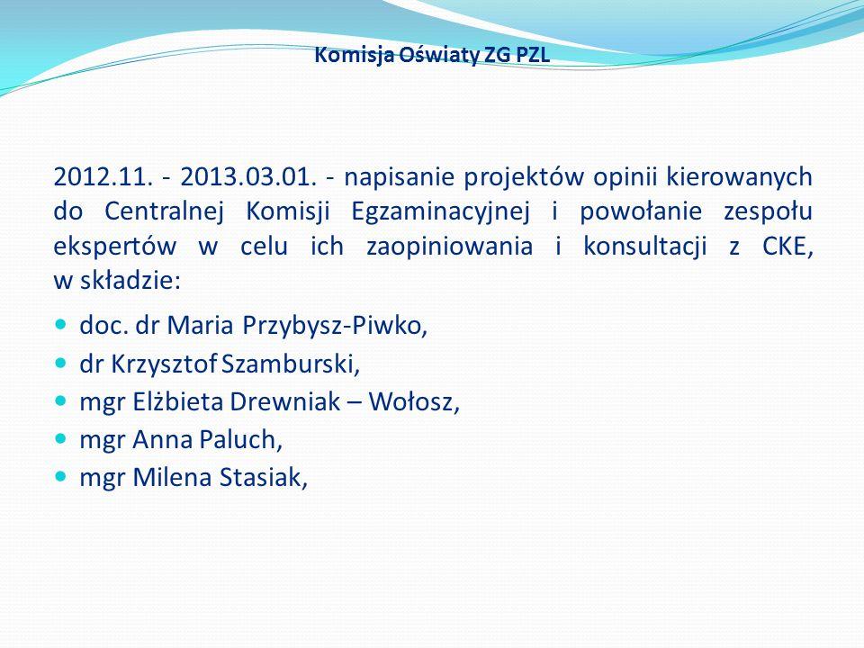 2012.11. - 2013.03.01. - napisanie projektów opinii kierowanych do Centralnej Komisji Egzaminacyjnej i powołanie zespołu ekspertów w celu ich zaopinio