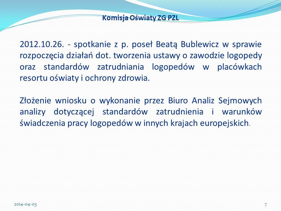 Komisja Oświaty ZG PZL 2012.10.26. - spotkanie z p. poseł Beatą Bublewicz w sprawie rozpoczęcia działań dot. tworzenia ustawy o zawodzie logopedy oraz