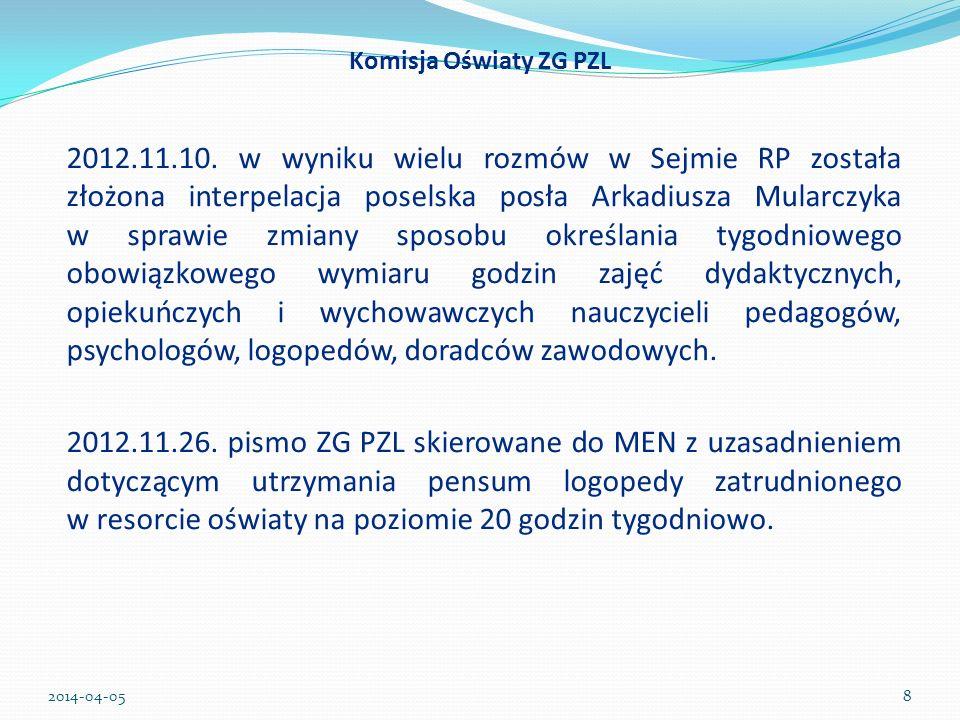 2012.11.10. w wyniku wielu rozmów w Sejmie RP została złożona interpelacja poselska posła Arkadiusza Mularczyka w sprawie zmiany sposobu określania ty