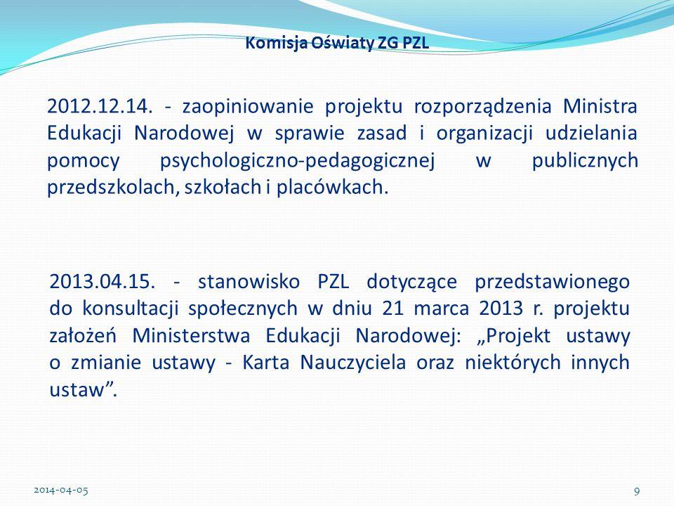 Członkowie Komisji Oświaty PZL: Barbara Gorgoń (oddział małopolski) Joanna Grabowska-Okraska (oddział warmińsko-mazurski) Milena Stasiak (oddział wielkopolski) Dziękujemy za uwagę 2014-04-0520