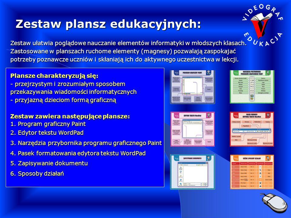 Zestaw plansz edukacyjnych: Zestaw ułatwia poglądowe nauczanie elementów informatyki w młodszych klasach.