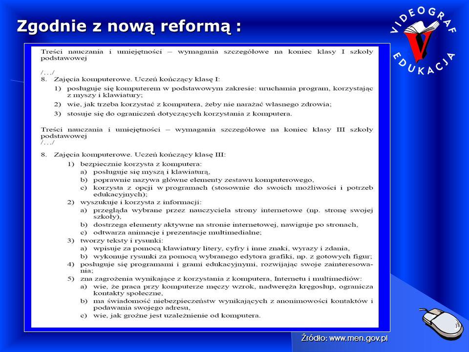 Zgodnie z nową reformą : Ź ródło: www.men.gov.pl