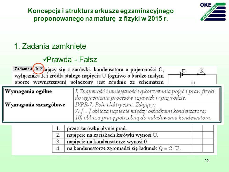 12 1. Zadania zamknięte Prawda - Fałsz Koncepcja i struktura arkusza egzaminacyjnego proponowanego na maturę z fizyki w 2015 r.