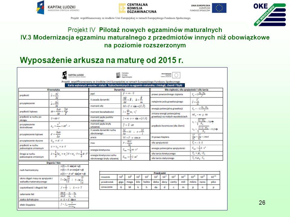 26 Wyposażenie arkusza na maturę od 2015 r. Projekt IV Pilotaż nowych egzaminów maturalnych IV.3 Modernizacja egzaminu maturalnego z przedmiotów innyc