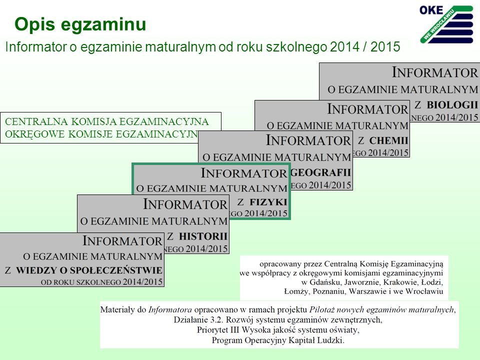 3 Opis egzaminu Informator o egzaminie maturalnym od roku szkolnego 2014 / 2015 CENTRALNA KOMISJA EGZAMINACYJNA OKRĘGOWE KOMISJE EGZAMINACYJNE