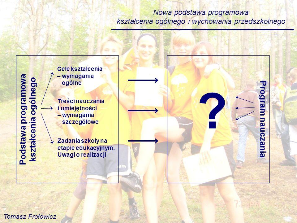 Nowa podstawa programowa kształcenia ogólnego i wychowania przedszkolnego Program nauczania ? Podstawa programowa kształcenia ogólnego Cele kształceni