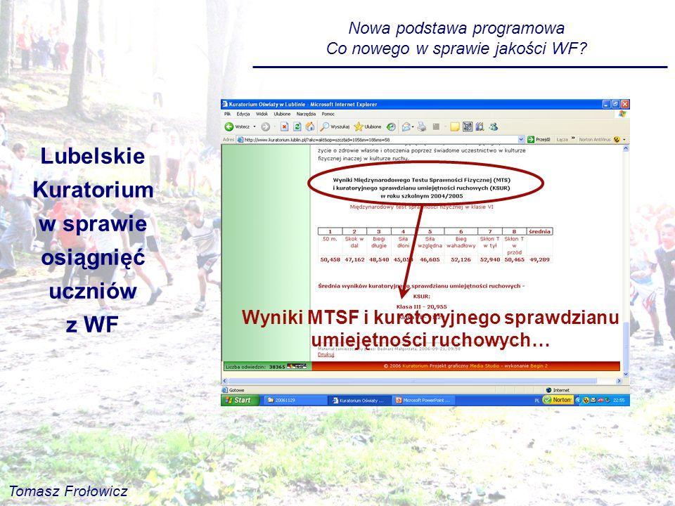 Lubelskie Kuratorium w sprawie osiągnięć uczniów z WF Wyniki MTSF i kuratoryjnego sprawdzianu umiejętności ruchowych… Nowa podstawa programowa Co nowe