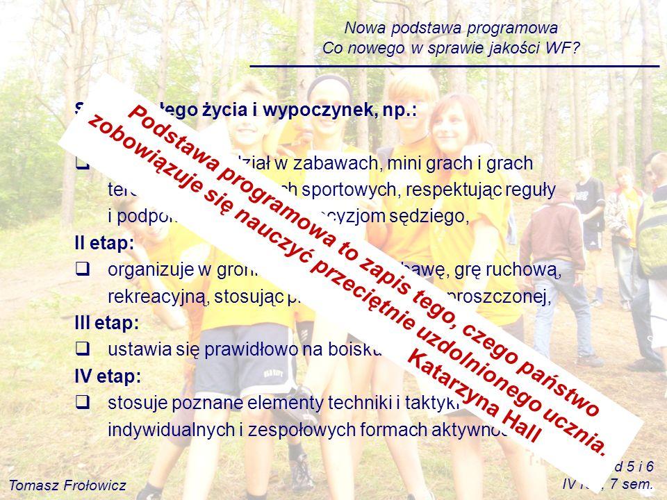 Nowa podstawa programowa Co nowego w sprawie jakości WF? Sporty całego życia i wypoczynek, np.: I etap: Uczeń bierze udział w zabawach, mini grach i g
