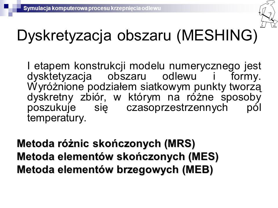 Symulacja komputerowa procesu krzepnięcia odlewu Dyskretyzacja obszaru (MESHING) I etapem konstrukcji modelu numerycznego jest dysktetyzacja obszaru o