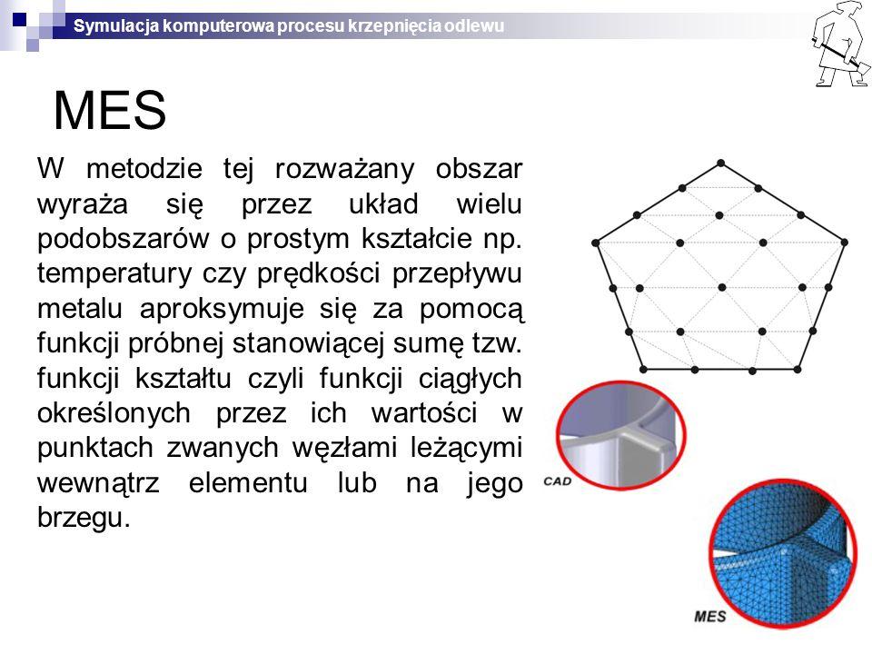 Symulacja komputerowa procesu krzepnięcia odlewu MES W metodzie tej rozważany obszar wyraża się przez układ wielu podobszarów o prostym kształcie np.