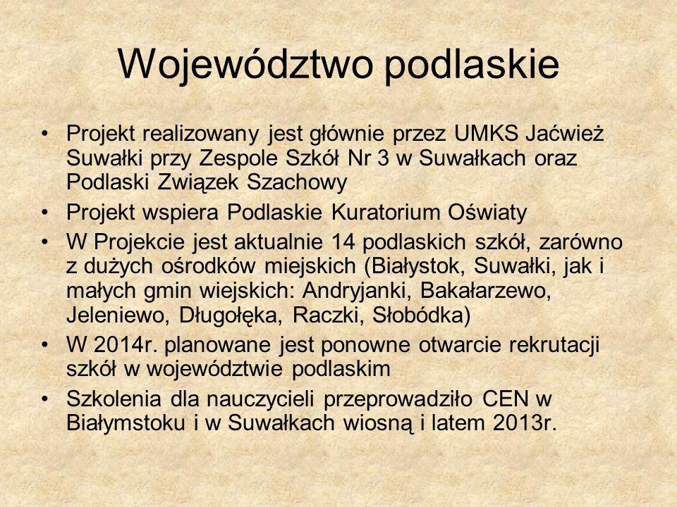 Województwo podlaskie Projekt realizowany jest głównie przez UMKS Jaćwież Suwałki przy Zespole Szkół Nr 3 w Suwałkach oraz Podlaski Związek Szachowy P