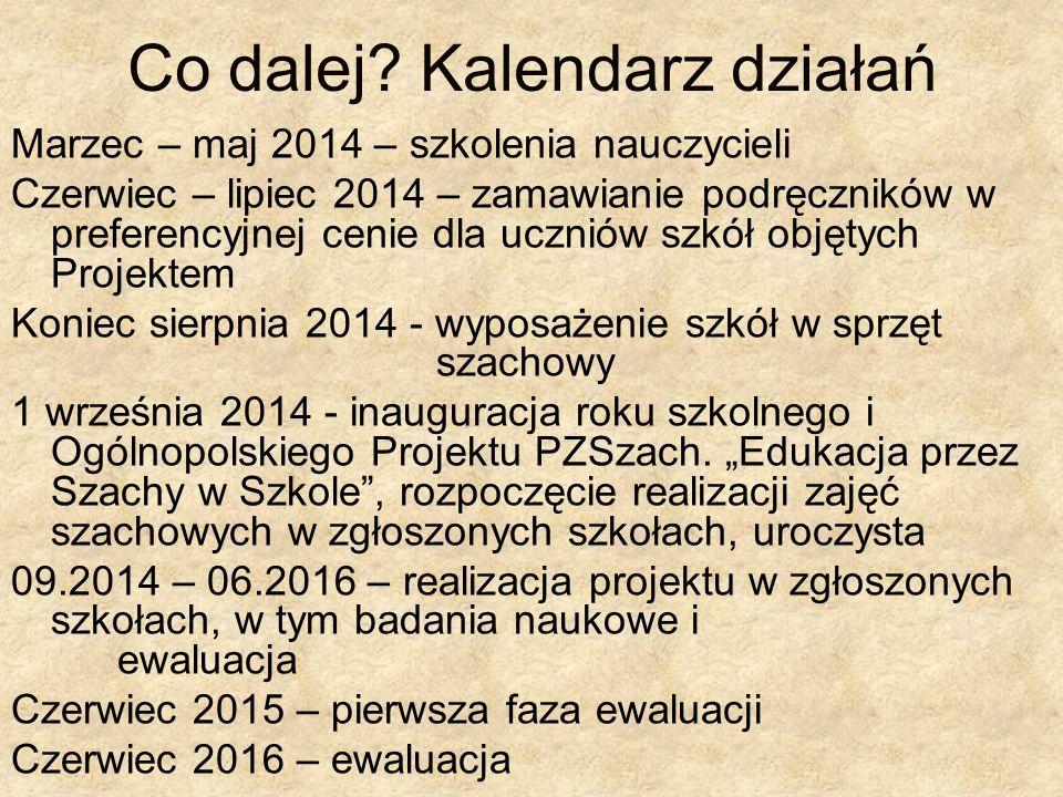 Co dalej? Kalendarz działań Marzec – maj 2014 – szkolenia nauczycieli Czerwiec – lipiec 2014 – zamawianie podręczników w preferencyjnej cenie dla uczn