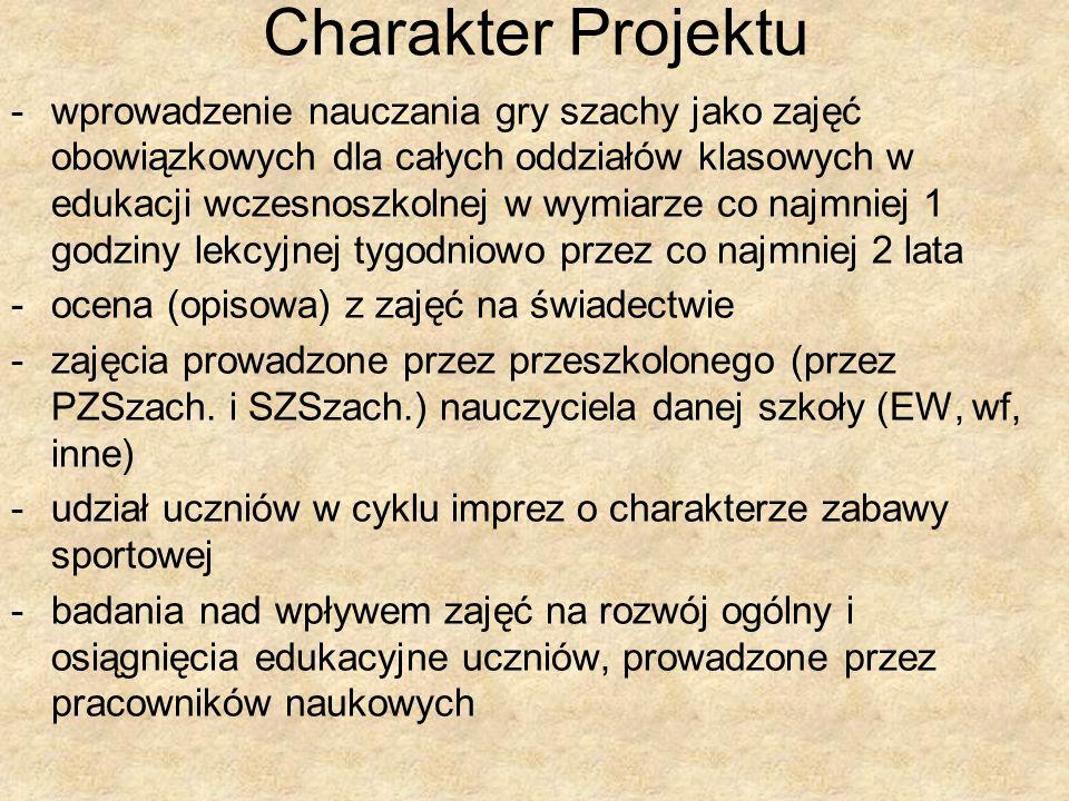 Charakter Projektu -wprowadzenie nauczania gry szachy jako zajęć obowiązkowych dla całych oddziałów klasowych w edukacji wczesnoszkolnej w wymiarze co