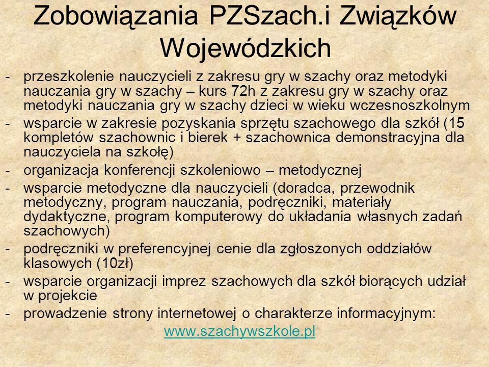 Zobowiązania PZSzach.i Związków Wojewódzkich -przeszkolenie nauczycieli z zakresu gry w szachy oraz metodyki nauczania gry w szachy – kurs 72h z zakre