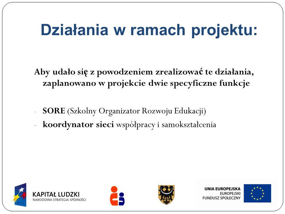 Działania w ramach projektu: Aby udało si ę z powodzeniem zrealizowa ć te działania, zaplanowano w projekcie dwie specyficzne funkcje - SORE (Szkolny