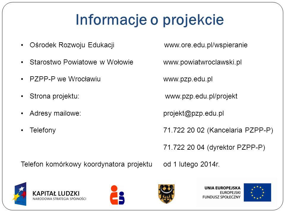 Informacje o projekcie Ośrodek Rozwoju Edukacji www.ore.edu.pl/wspieranie Starostwo Powiatowe w Wołowie www.powiatwroclawski.pl PZPP-P we Wrocławiuwww