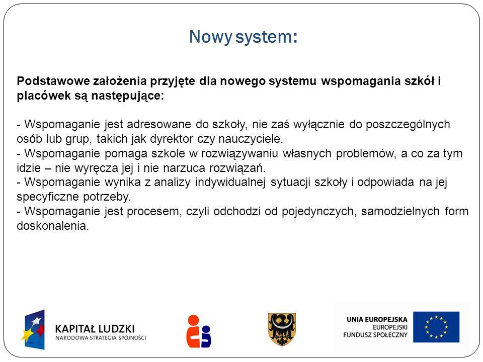 Nowy system: Podstawowe założenia przyjęte dla nowego systemu wspomagania szkół i placówek są następujące: - Wspomaganie jest adresowane do szkoły, ni