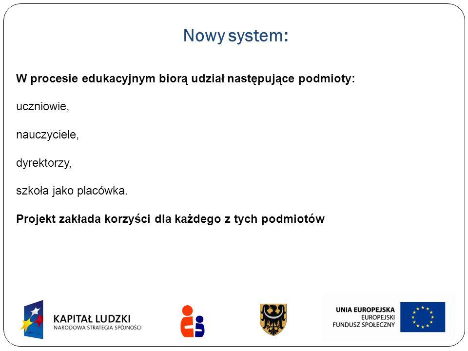 Nowy system: W procesie edukacyjnym biorą udział następujące podmioty: uczniowie, nauczyciele, dyrektorzy, szkoła jako placówka. Projekt zakłada korzy