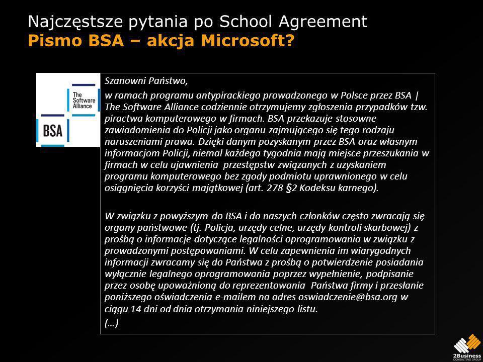 Najczęstsze pytania po School Agreement Pismo BSA – akcja Microsoft.