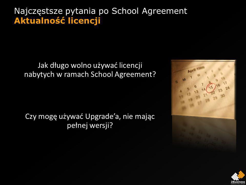 Najczęstsze pytania po School Agreement Aktualność licencji Jak długo wolno używać licencji nabytych w ramach School Agreement.