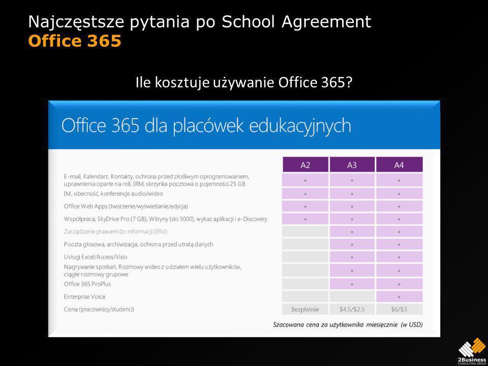 Najczęstsze pytania po School Agreement Office 365 Ile kosztuje używanie Office 365?