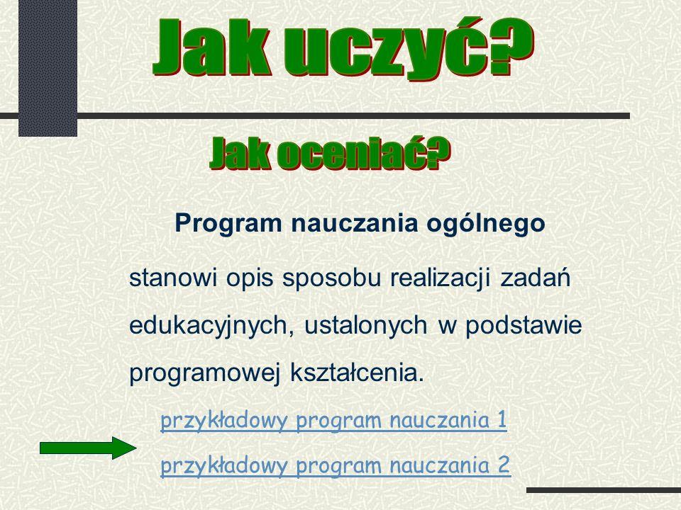 Program nauczania ogólnego stanowi opis sposobu realizacji zadań edukacyjnych, ustalonych w podstawie programowej kształcenia.