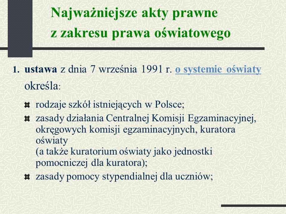 Najważniejsze akty prawne z zakresu prawa oświatowego 1.