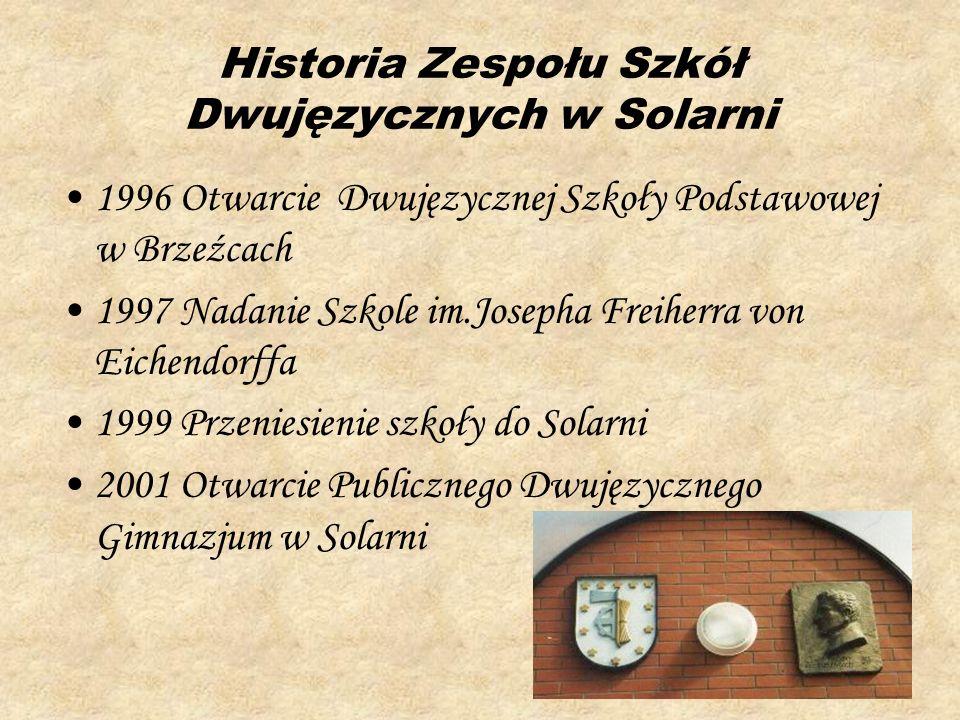 Historia Zespołu Szkół Dwujęzycznych w Solarni 1996 Otwarcie Dwujęzycznej Szkoły Podstawowej w Brzeźcach 1997 Nadanie Szkole im.Josepha Freiherra von
