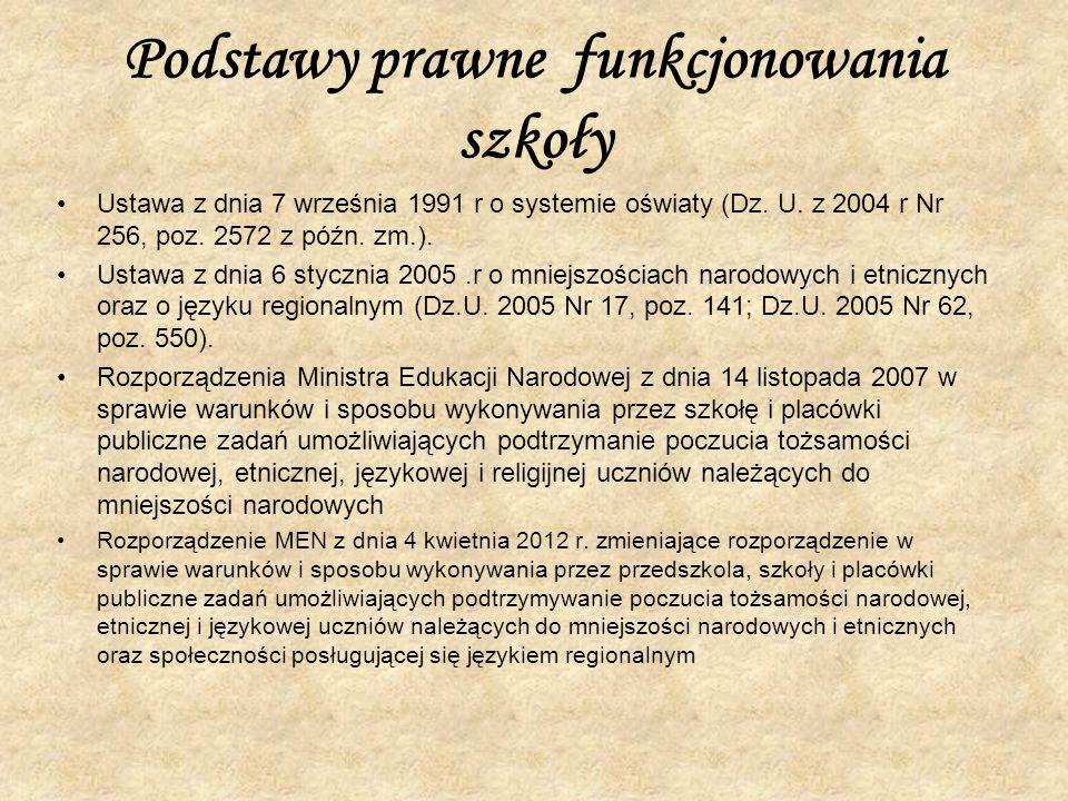 Podstawy prawne funkcjonowania szkoły Ustawa z dnia 7 września 1991 r o systemie oświaty (Dz. U. z 2004 r Nr 256, poz. 2572 z późn. zm.). Ustawa z dni