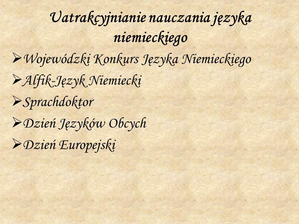 Uatrakcyjnianie nauczania języka niemieckiego Wojewódzki Konkurs Języka Niemieckiego Alfik-Język Niemiecki Sprachdoktor Dzień Języków Obcych Dzień Eur
