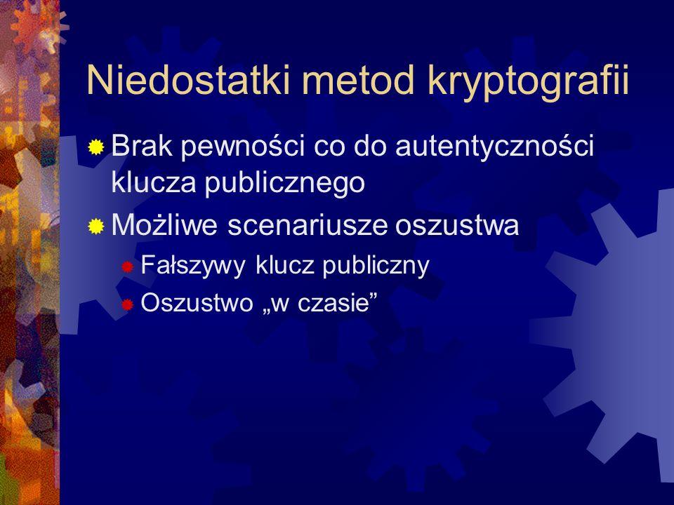 Niedostatki metod kryptografii Brak pewności co do autentyczności klucza publicznego Możliwe scenariusze oszustwa Fałszywy klucz publiczny Oszustwo w