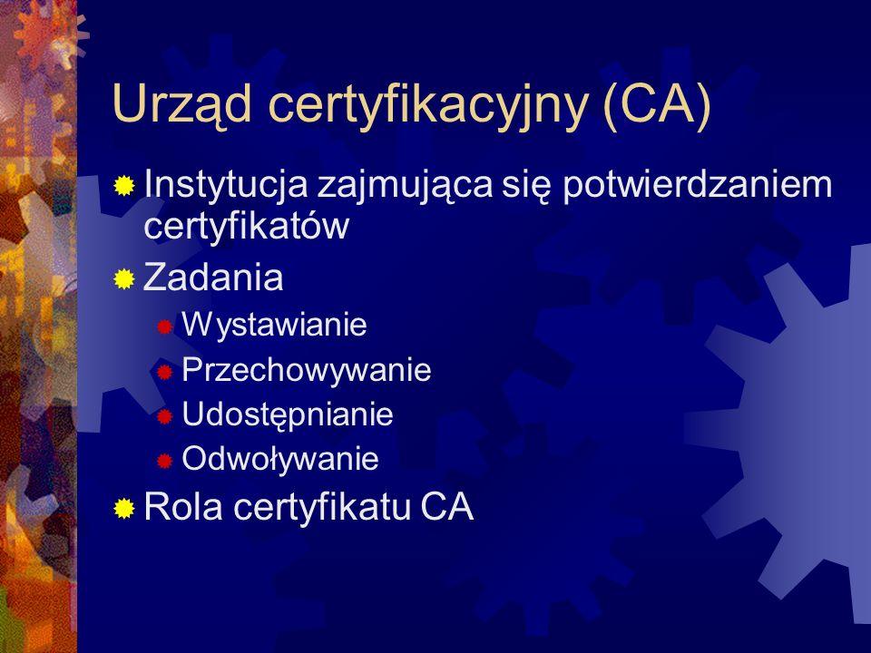Urząd certyfikacyjny (CA) Instytucja zajmująca się potwierdzaniem certyfikatów Zadania Wystawianie Przechowywanie Udostępnianie Odwoływanie Rola certy