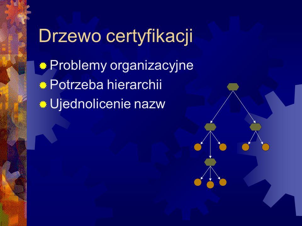 Drzewo certyfikacji Problemy organizacyjne Potrzeba hierarchii Ujednolicenie nazw