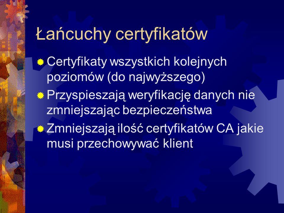 Łańcuchy certyfikatów Certyfikaty wszystkich kolejnych poziomów (do najwyższego) Przyspieszają weryfikację danych nie zmniejszając bezpieczeństwa Zmni