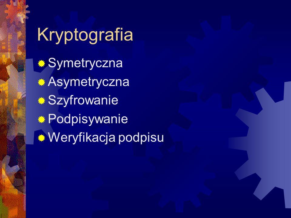 Kryptografia symetryczna Najprostsza, znana od wieków Łatwa do oprogramowania Bardzo szybkie algorytmy Jeden, symetryczny klucz Konieczność ustalenia klucza Problem jajka i kury