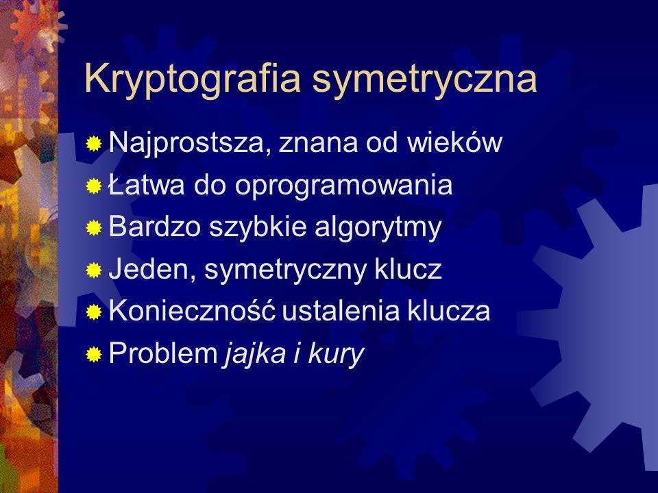 Kryptografia symetryczna Najprostsza, znana od wieków Łatwa do oprogramowania Bardzo szybkie algorytmy Jeden, symetryczny klucz Konieczność ustalenia