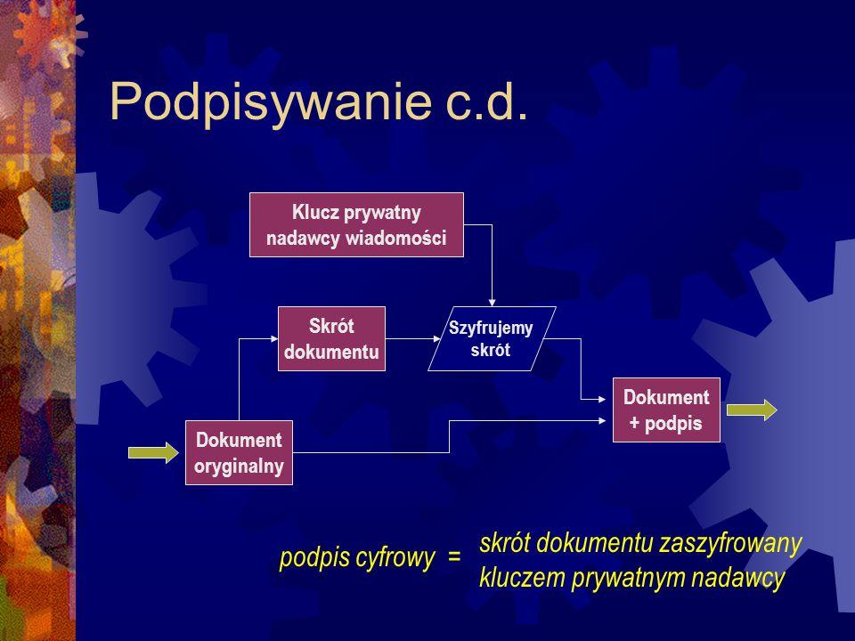 Podpisywanie c.d. Dokument oryginalny Klucz prywatny nadawcy wiadomości Skrót dokumentu Szyfrujemy skrót Dokument + podpis skrót dokumentu zaszyfrowan