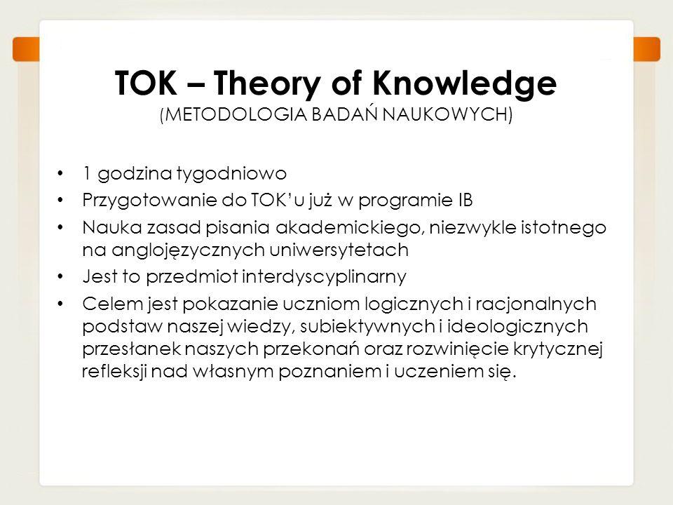 TOK – Theory of Knowledge ( METODOLOGIA BADAŃ NAUKOWYCH) 1 godzina tygodniowo Przygotowanie do TOKu już w programie IB Nauka zasad pisania akademickie
