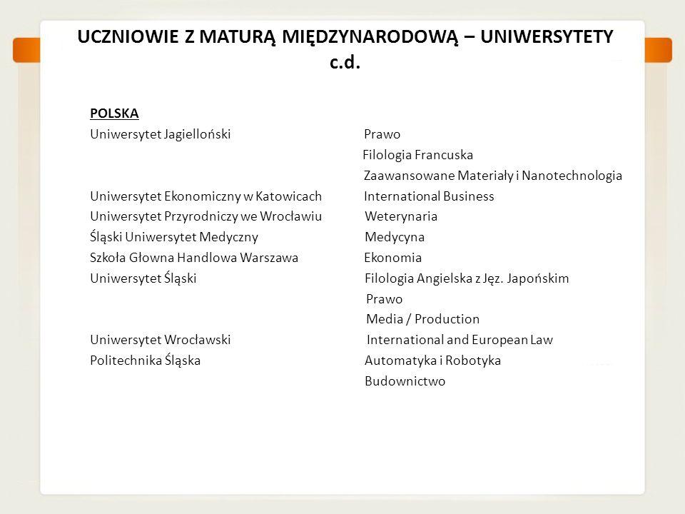 UCZNIOWIE Z MATURĄ MIĘDZYNARODOWĄ – UNIWERSYTETY c.d. POLSKA Uniwersytet JagiellońskiPrawo Filologia Francuska Zaawansowane Materiały i Nanotechnologi