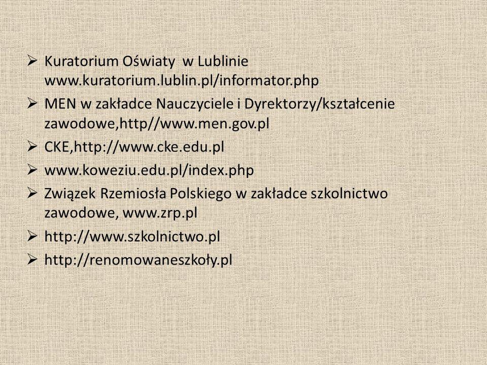 Kuratorium Oświaty w Lublinie www.kuratorium.lublin.pl/informator.php MEN w zakładce Nauczyciele i Dyrektorzy/kształcenie zawodowe,http//www.men.gov.p