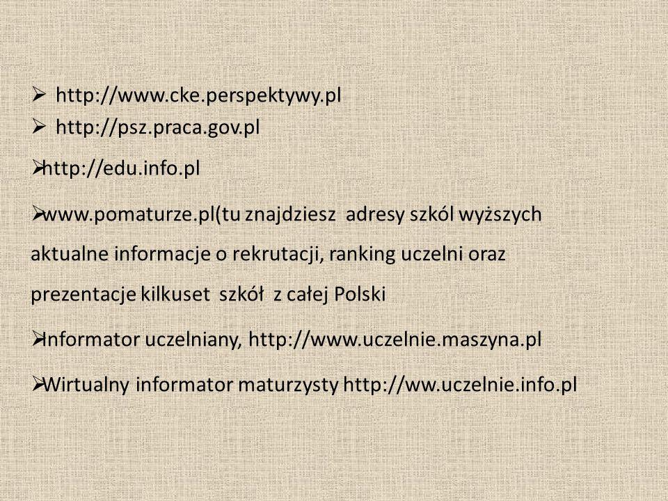 http://www.cke.perspektywy.pl http://psz.praca.gov.pl http://edu.info.pl www.pomaturze.pl(tu znajdziesz adresy szkól wyższych aktualne informacje o re