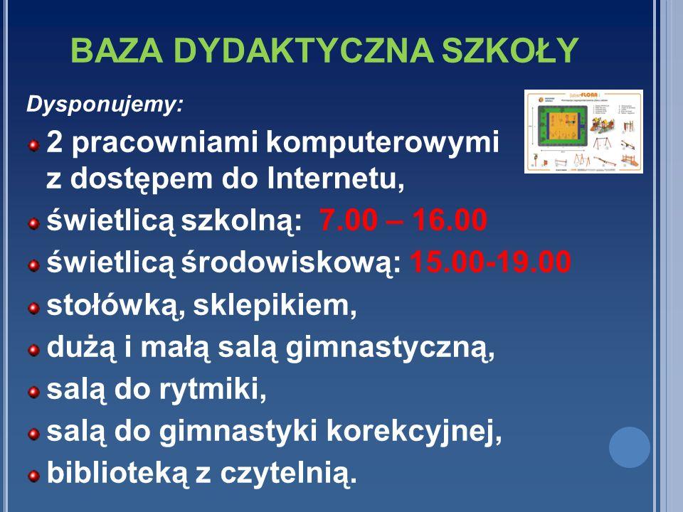 BAZA DYDAKTYCZNA SZKOŁY Dysponujemy: 2 pracowniami komputerowymi z dostępem do Internetu, świetlicą szkolną: 7.00 – 16.00 świetlicą środowiskową: 15.0